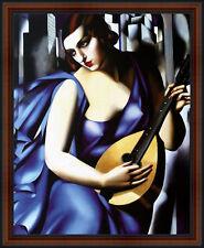 Blue Woman with a Guitar by Tamara de Lempicka. Fine Art Poster Walnut Frame #4