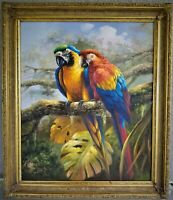 Signed Oil Painting on Canvas Parrots Couple on Tree Birds Framed 28x24""