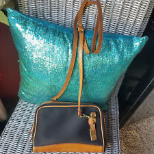 VINTAGE ~ DOONEY & BOURKE Black Canvas and Tan Leather CROSS-BODY Bag