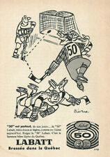 1957 LABATT 50 W/ Mr 50 PLAYING HOCKEY ORIGINAL AD IN FRENCH
