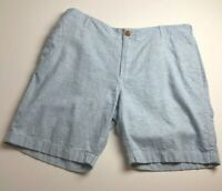 J. Crew Men's Flat Front Chino Shorts 38 W Blue White Stripes Zipper Fly Pockets