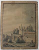 Grand DESSIN Ancien Aquarelle Encre XVIIIe Paysage Pêcheur Paysanne