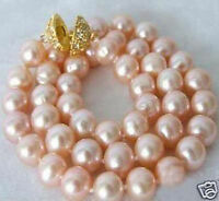 Genuine 9-10mm Pink Akoya Cultured Pearl Necklace 18''AA+