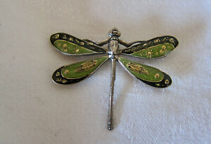 Catherine Popesco Dragonfly Enamel Brooch, Pin Signed