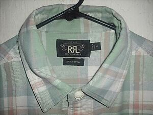 RRL RALPH LAUREN CHECK PLAID GREEN PINK WHITE  JACQUARD FLANNEL WORKSHIRT-XL