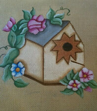Flowers and Birdhouse Handpainted Needlepoint Canvas