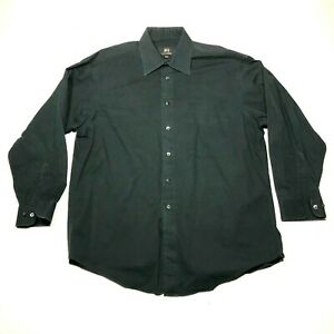 Vintage Ike Design by Ike Behar Button Down Shirt Mens 16.5 Black Long Sleeve