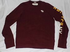 ABERCROMBIE & FITCH Long Sleeve Muscle T-shirt Mens XL X-Large Burgundy Maroon