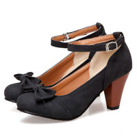 Women Bow Round Toe Ankle Strap Buckle Chunky High Heel Mary Janes Pumps Shoes