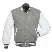 Best quality (Grey&White) Varsity Jacket in Wool body & Genuine Leather Sleeves.