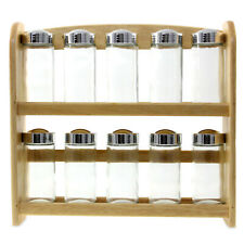 Set of Wooden Spice Rack w/ 10 Seasoning Jars Herbs Bottle Storage Containers