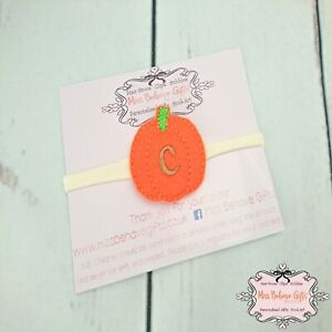 Personalised Halloween Pumpkin Initial Baby Headband