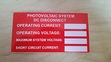 Solar PV Labels Vinyl Photovoltaic System DC Disconnect UV Resistant