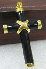 Black Agate Onyx 18KGP Cross Christmas Talisman Women Pendant Chain Necklace
