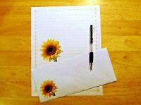 Sunflower Stationery 12 Sheets 6 Envelopes - Lined Stationary