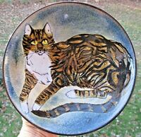 Large Vintage Chelsea Pottery England Joyce Morgan Tabby Cat Footed Bowl Signed