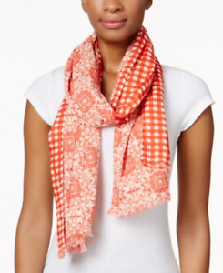Echo Double Faceted Floral to Plaid Oblong Scarf, Retail $42.00