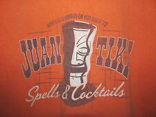 Old Navy T Shirt Tiki Spells & Cocktails Orange Size L Honolulu Voodoo Juan Tiki