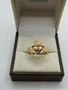Genuine 9kt Yellow Gold Ruby Irish Claddagh Ring 0.05ct Size 9.5 & 3.7g