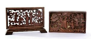19C Chinese 2 Boxwood Wood Carved Carving Figure Plaque Table Screen - AS IS