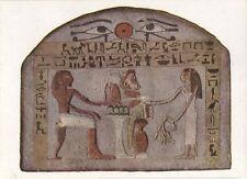 Alte Kunstpostkarte -  Wien - Ägyptische Grabstele - Der Tote vor dem Opfertisch