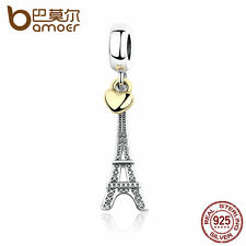 Bamoer Authentic S925 Sterling Silver Charm with Heart Eiffel Tower Fit Bracelet
