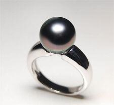 Genuine stunning natural round AAA+ 10-11mm tahitian black pearl ring