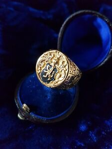 Royal Oxford  Style Signet Ring Gold Plated Size R