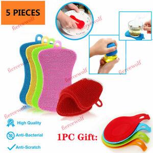 5PCS Silicone Sponge Hygiene Hero Sponge Non-Stick for Kitchen Home Kit + Gift