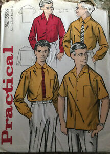 "60s Practical Pattern Men's Short Or Long Sleeve Shirt Chest 36""-38"""