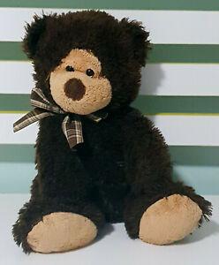 TY Beanie Teddy Bear Plush Toy w/ Plaid Bow Children's Soft Toy 24cm Tall!