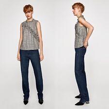 New Zara Woman Grey,Black & White Check Sleeveless Ruffle Blouse Top,L