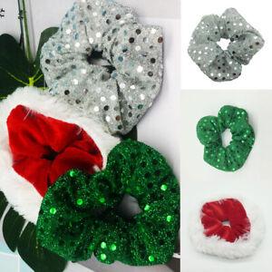 Women Sweet Christmas Scrunchies Velvet Elastic Sequin Hair Rope Xmas Accessory