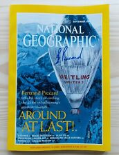 """Sept 1999 NATIONAL GEOGRAPHIC Magazine """"Autographed"""" Bertrand Piccard Ballooning"""