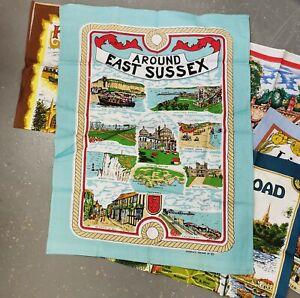 five vintage cotton souvenir tea towels British Counties unused
