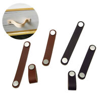 Leather Handmade Cabinet Door Knob Drawer Pulls Door Handles Cupboard Kitchen US