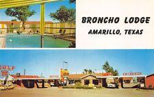 Amarillo TX Broncho Lodge Motel Swimming Pool Postcard