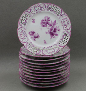 KPM Royal Berlin Porcelain Hand Painted Reticulated Plates Purple Flowers Set/12