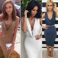 Women Ladies Sleeveless V Neck Wrinkle Bodycon Evening Party Cocktail Midi Dress