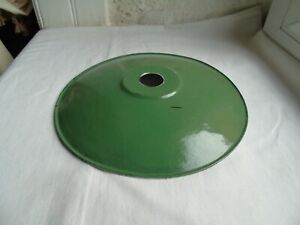 French antique vintage c.1940  green porcelain enamel light shade