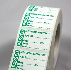 Roll 1000 MINI PAT Test / Testing PASS Labels Non Rip, PASSED Stickers