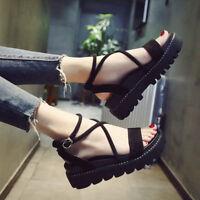 Women's Summer Platform Creeper Sandals Cross Straps Muffin Beach Sandals Shoes
