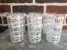 """Six (6) Mid Century 5"""" White Gold Clear Glass Tumbler High Ball Old Fashion"""