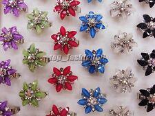 Wholesale jewelry lots 25pcs Flower Resin Crystal Rhinestone Rings FREE