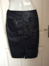 ATMOSPHERE BLACK LEATHER LOOK FRONT POCKET PENCIL SKIRT Size 8 BNWT new £10