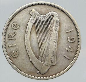1941 IRELAND HORSE LYRE HARP Vintage Genuine Silver 1/2 Crown IRISH Coin i91692