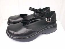 "Women's Dansko ""Lotus"" Black Leather Mary Jane Clog Shoes 40 (US 10)"