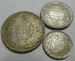 India 3 x George VI High Grade Silver Rupee & Fractions, As Pictures.