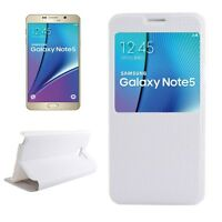 COVER CUSTODIA BOOK PELLE per SAMSUNG GALAXY NOTE 5 SM-N9200 BIANCO VIEW Display