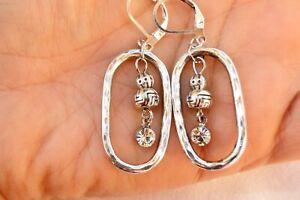 Altered Brighton Pebble Silver Hoop Dangle Beads & Crystal  Lever Back Earrings